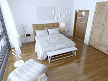 Modern bedroom with brown bed and white wall. Spacious room with a balcony and floor-to-ceiling windows. 3D render Stock Photos