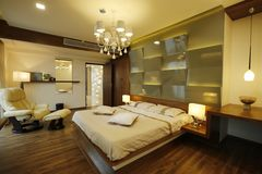 Modern bedroom, Calicut, India. Interior of modern bedroom designed by Amar Architecture and Designs Pvt, Ltd in Calicut, India Stock Photo
