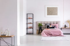 Modern bedroom with copper accessories Stock Photo