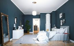 Modern bedroom 3d. Modern bedroom with  classic  swedish stove. 3d concept rendering Stock Photos