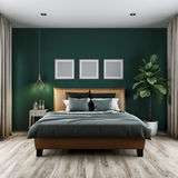 Modern bedroom dark tone,3d rendering Royalty Free Stock Image