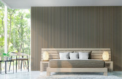 Modern bedroom decorate walls with wooden lattice 3d rendering image. There are large window overlooking to nature and forest vector illustration