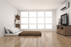 Modern bedroom decoration in parquet wood design with light from window in 3D rendering Royalty Free Stock Photo