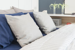 Modern bedroom design with blue color set Stock Photography