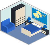 Modern bedroom design in isometric style. Modern design of cozy bedroom with furniture. Interior in isometric style in blue colors. Vector 3D illustration Royalty Free Stock Photos