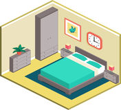 Modern bedroom design in isometric style. Modern design of cozy bedroom with furniture. Interior in isometric style. Vector 3D illustration Stock Photography