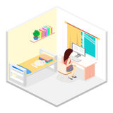 Modern bedroom design in isometric style. Royalty Free Stock Image