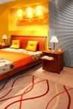 Modern bedroom detail stock image