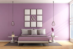 Modern bedroom with double bed Stock Photos