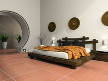 Modern bedroom in  ethnic style Stock Images