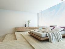 Modern bedroom with floor to ceiling windows Stock Photography