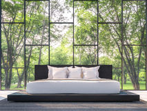 Modern bedroom with garden view 3d rendering Image Stock Photo