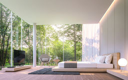 Modern bedroom with garden view in the morning 3d rendering image Stock Photo