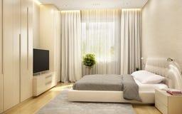 Modern bedroom in a big hotel. Modern bedroom in a hotel stock photo