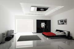 Modern bedroom interior. 3d render Royalty Free Stock Images