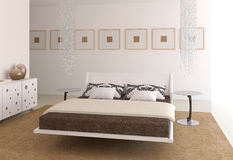 Modern bedroom interior. Royalty Free Stock Images