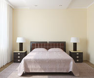 Modern bedroom interior. Royalty Free Stock Photo