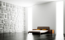 Modern bedroom interior 3d Royalty Free Stock Photos