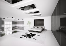 Modern bedroom interior 3d Stock Photos