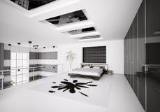 Modern bedroom interior 3d Stock Photos