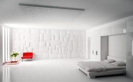 Modern bedroom interior 3d render. Modern white bedroom with red armchair interior 3d render Royalty Free Stock Photography