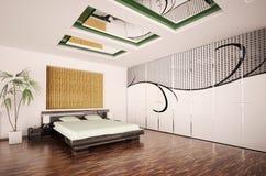 Modern bedroom interior 3d render Royalty Free Stock Photo