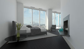 Modern bedroom interior in an angled room royalty free stock image