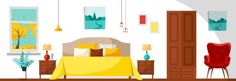 Modern Bedroom interior with a bed, nightstands, lamps, wardrobe, red soft armchair and window with trees landscape. Flat cartoon stock illustration