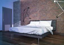 Modern bedroom interior. With brick wall , minimalistic furniture Royalty Free Stock Images