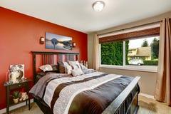 modern-bedroom-interior-contrast-color-walls-bright-red-wall-black-bed ...