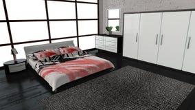 Modern bedroom. Interior 3d render royalty free illustration