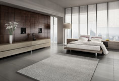 Modern bedroom interior royalty free stock image