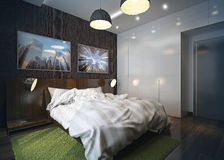 Modern bedroom interior. 3d rendering.   Modern bedroom interior with brown wall , minimalistic furniture and green carpet Stock Photo