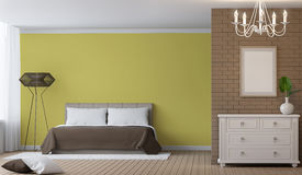Modern Bedroom interior 3d rendering image. There are decorate wall with brick pattern and empty wall paint with yellow colour. There are white vintage shelf Stock Images