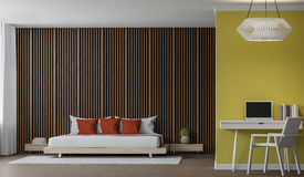 Modern Bedroom interior 3d rendering image. There are decorate wall with Wood lattice and empty wall paint with yellow colour. There are working corner with Stock Image