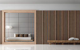 Modern Bedroom interior 3d rendering image. View from front of room.There are decorate wall with Wood lattice and empty wall paint with grey colour. There are Royalty Free Stock Photo