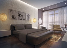 Modern bedroom interior. 3d rendering. Modern bedroom interior with white brick wall , minimalistic furniture and classical carpet Stock Photo