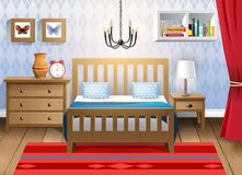 Modern bedroom. Interior design - big modern bedroom vector illustration