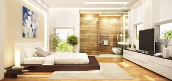 Modern bedroom interior design combined with a modern bathroom. Modern bedroom combined with a modern bathroom stock illustration