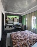 Modern bedroom interior design, 3d render. Modern interior design ideas. 3d visualization of bedroom interior design Royalty Free Stock Image