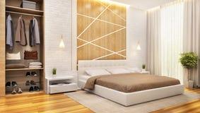 Modern bedroom interior design with dressing room. Modern bedroom interior with dressing room royalty free illustration
