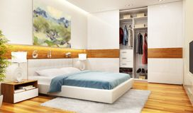 Modern bedroom interior design with large sliding wardrobe royalty free stock image