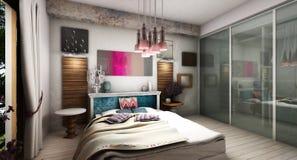 Modern Bedroom. Interior design rendering of modern bedroom Stock Photos