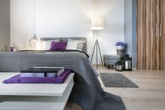 Modern bedroom interior design Stock Images