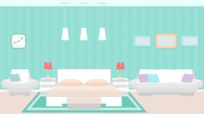 Modern bedroom interior with furniture including bed, armchair, sofa. Royalty Free Stock Photo