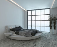 Modern bedroom interior with huge window Royalty Free Stock Photo