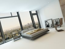Modern bedroom interior with huge windows. And nice furniture Stock Photo