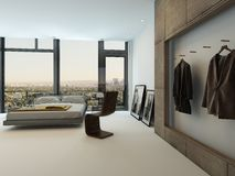 Modern bedroom interior with huge windows. And nice furniture Royalty Free Stock Photo