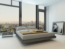 Modern bedroom interior with huge windows. And nice furniture Royalty Free Stock Photos