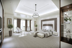 Modern bedroom interior with large Windows from floor to ceiling Royalty Free Stock Photo
